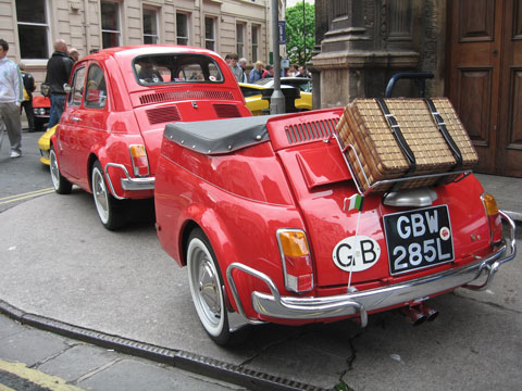 Carl Allen's Fiat 500L with matching trailer note the twin exhausts