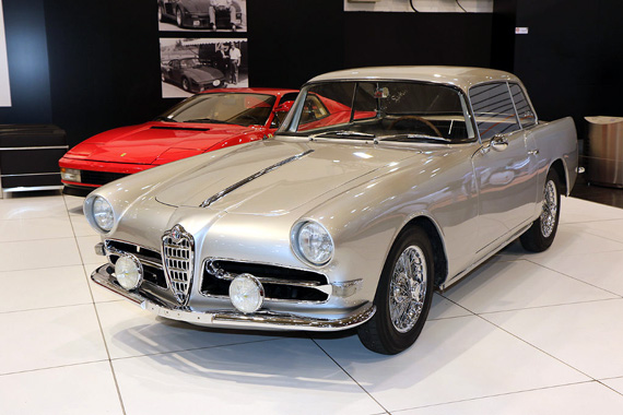 Based on the popular Alfa Romeo 1900, this coupé was built in 1957 by the Swiss coachbuilder Ghia-Aigle on a design by Giovanni Michelotti.  Only five examples were built.
