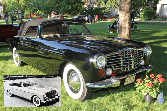 Morano's Packard, convertible Vignale in inset. Color photo by Dinkins.