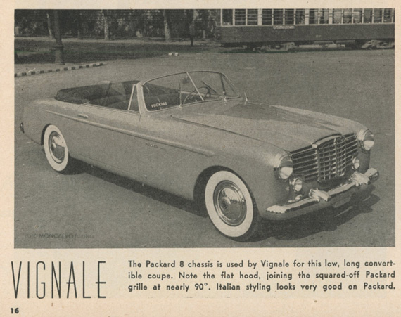 The photo from Road and Track as found by Jim Sitz.  Note the word 'Packard' on the windshield. This appeared in the March 1951 issue, so the car pre dates 1953. See comments!
