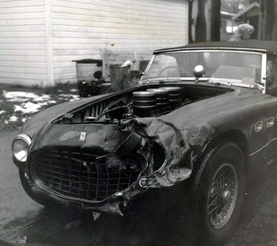 And the fender damage. Still, at only $1800, it was a deal, even in 1961. The Ferrari is 0336MM, now owned by Rob Walton.