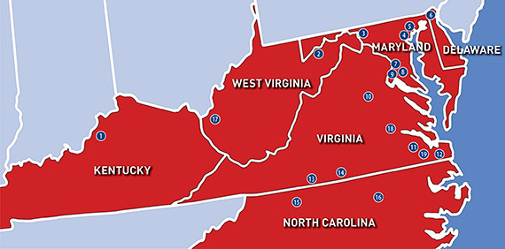 The Mid-Atlantic Region as covered by the book. O'Neil noted that although Kentucky and North Carolina were actually not officially within the SCCA defined region, it was best to include them in the book as well.