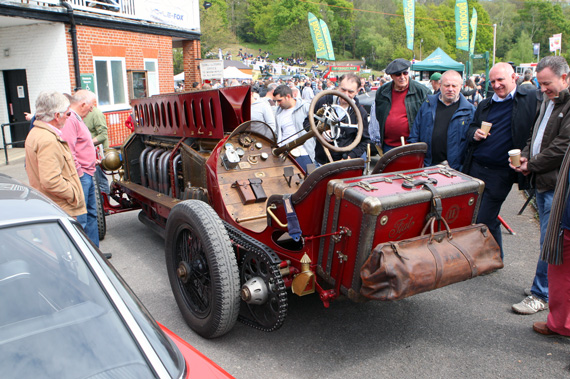 Probably the most appropriate Fiat for Brooklands Italian Car Day. Note the chain drive which is an unusual reverse drive set up. Whichever direction, one does not wish to have the chain break at speed, which  is limited to 120 mph though no doubt would go faster with a brave man.