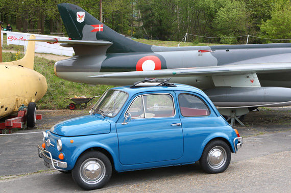 I think they do this every year, a Fiat 500 next to a Hunter jet aircraft.