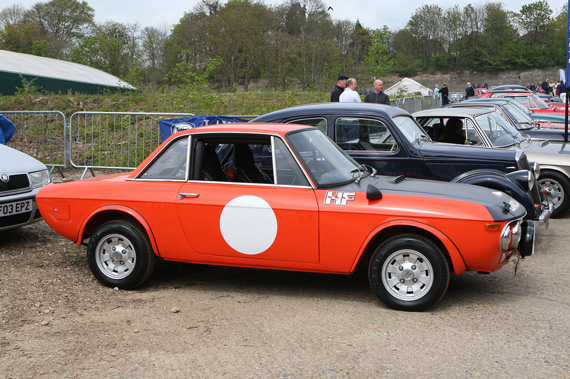 Robin and Jonathan Lacey's Right hand drive Lancia Fulvia 1.6HF Fanalone. One of approximately 30 made.