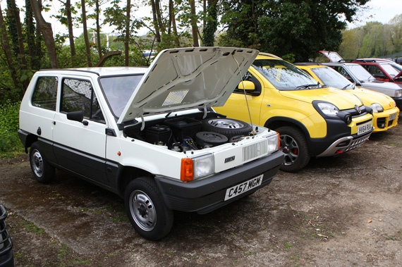 What a contrast in size this Mk1 Fiat Panda makes parked next to its modern brother