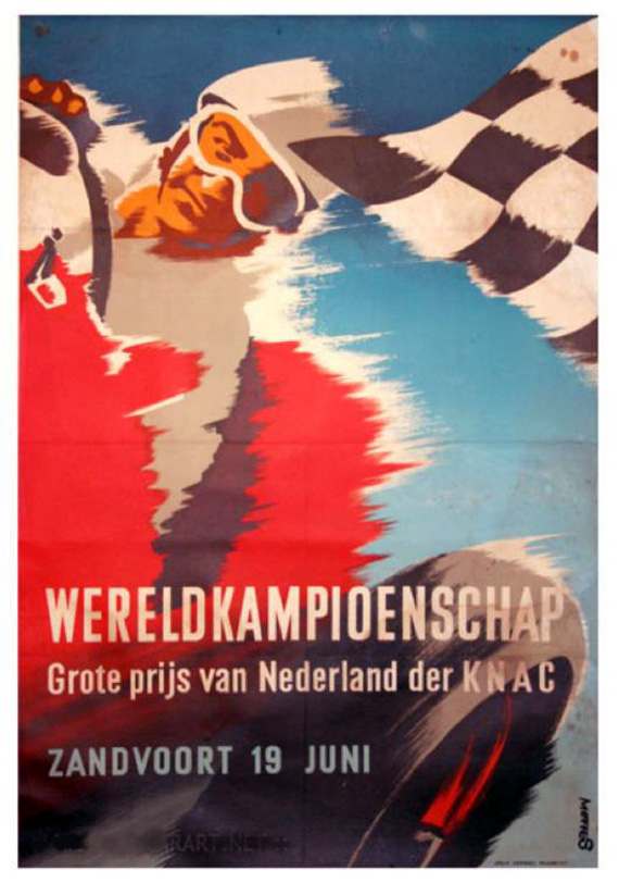 The poster for the 1955 Grand Prix at Zandvoort. It was designed by the well-known Dutch graphic artist Frans Mettes.