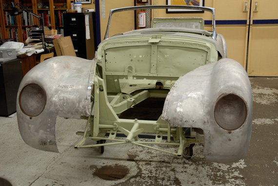 The decision to restore the Alfa Romeo rather than to preserve it raised a number of questions. First, considering the car's long history and the changes it underwent, to which moment in time should we restore it? As it was delivered to von Richthofen in 1943, or as it was modified for racing the Mille Miglia in 1948? In the end, we elected both options. We restored the car to its original, 1943 specifications. However, the future owner will be able to convert from the 1943 to the 1948 configuration by removing the bumpers, front windshield, convertible top and side windows, and fitting the correct Brooklands type racing windscreens we will furnish.