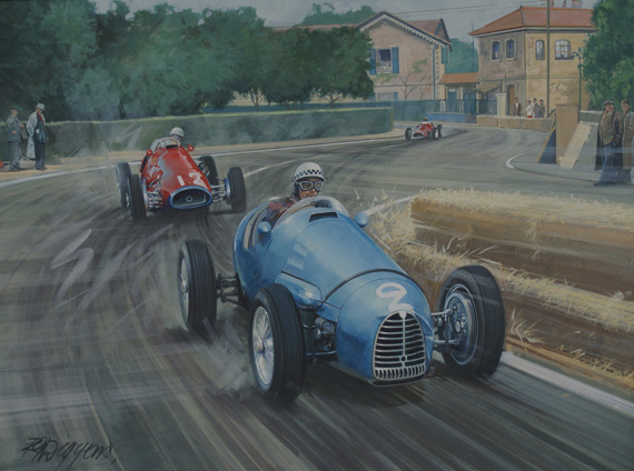 'The Sorcerer's Apprentice': A painting depicting the Pau Grand Prix of 1954, shows Jean Behra's Gordini fending off a strong challenge from Maurice Trintingnant and his Ferrari 500 F2. The nose of Behra's Gordini bears the evidence of his contact with Farina at the start. Amedee Gordini became known as 'Le Sorcerer' because of his uncanny ability to produce, on a shoe-string budget, the most amazing little racing cars. The Gordinis were very fast but also rather fragile and unreliable, probably the result of the team being hopelessly penurious. If success eluded Gordini in the major Grand Prix he would fare much better in the lesser events. These races, still supported by the major teams, were hotly contested and the painting shows Behra winning one of these non-championship contests.
