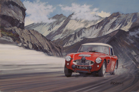 'Coupe des Alpes' 1961: This painting, as you know, shows the Morley twins in the Austin-Healey 3000 winning the only Coupe des Alpes of 1961. And this was the first time a British team driving a British car had headed an Alpine General Calsification. They won in 62 as well!