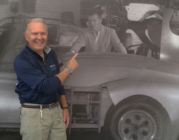 Fifty years on, Peter Brock poses with Peter Brock and the prototype Daytona,