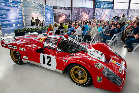 Luigi Chinetti and Michael Lynch presented a history of the Chinetti family and North American Racing Team in Hanger K at the airport on Friday afternoon. Besides the audience of 200, there were some NART cars in attendance as well. This Ferrari 512 M, chassis 1020, finished third at Le Mans, driven by Sam Posey and Tony Adamowicz. The car was later driven to several world records at the Bonneville Salt Flats by Luigi Chinetti, Jr., Paul Newman, Graham Hill and Milt Minter. Credit: Garret Vreeland