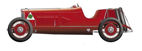The Alfa RTLF is a good example of the superb artwork used in the book.