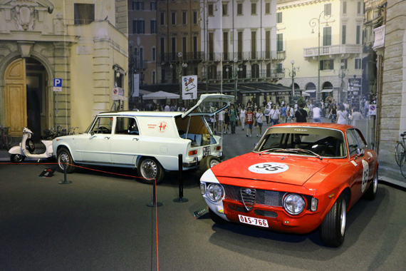 "The Alfa Romeo Giulia Sprint GTA with its ""assistenza"" car."