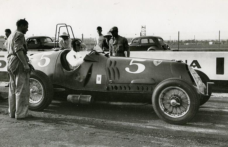 A rare photo by Hemp Oliver from the Dale La Follette collection of Nuvolari in the 12C 36 at the Vanderbuilt Cup in 1936 MAYBE Brivios car.