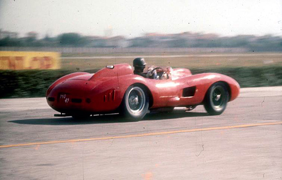 A sunny day at the Modena Autodrome nearly fifty nine years ago. Ferrari appeared with the 335S (0674) to test the Dunlop tires. Test driver Martino Severi at the wheel. This same car sold at Retromobile for nearly $34 million.
