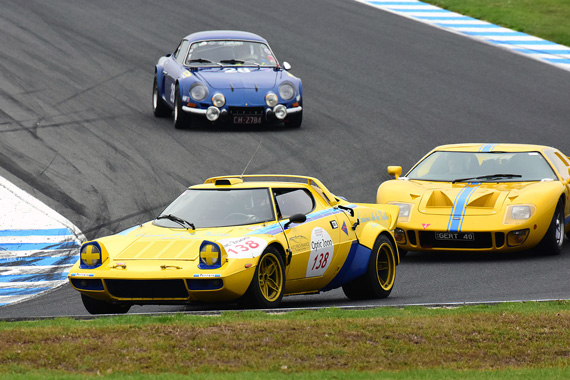 Flavio Puccinelli 1974 Lancia Stratos, Philip Moore Ford GT40 (R), John Hardy Alpine Renault A110 turn 10.