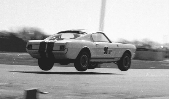 Ken Miles flying in the Shelby GT 350.
