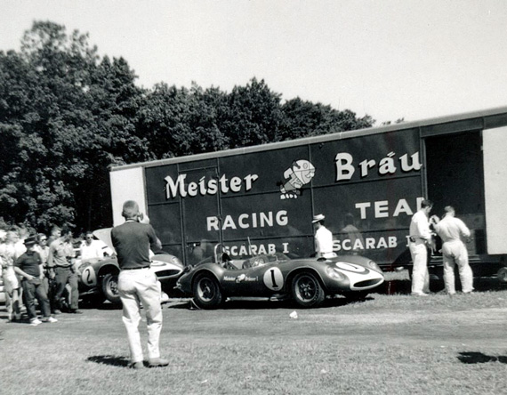 The Heuer and Pabst Scarabs at Road America, June 6 1960. Photo by Don Vack