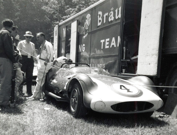 Harry Heuer talks to fans at RA in 1963.  Heuer would win the main. Photo by Don Vack.