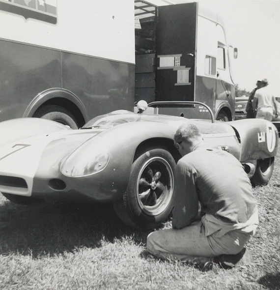 In 1963 Pabst was no longer driving for Heuer but handling a Lotus 19 for Mecum. Here at RA on June 23 1963 his Lotus 19 gets ready for the track.  He retired the Lotus during the event. Photo by Don Vack
