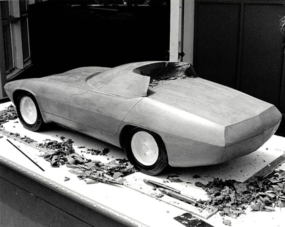 Brock's partially finished quarter-scale model of the TR250K in clay. Note that the original coupe body has been cut away to create an open cockpit sports-racer. Time and finances dictated the decision to build the roadster version.