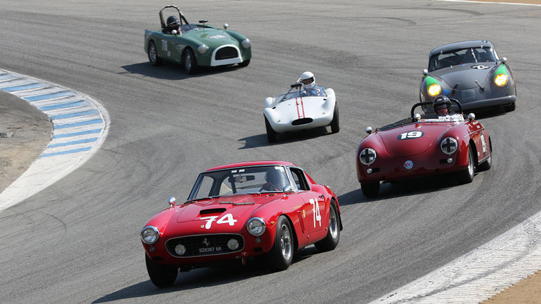 The Ferrari 250 GT SWB of Ned Spieker leads a duo of Porsches, a Jabro and a Turner.