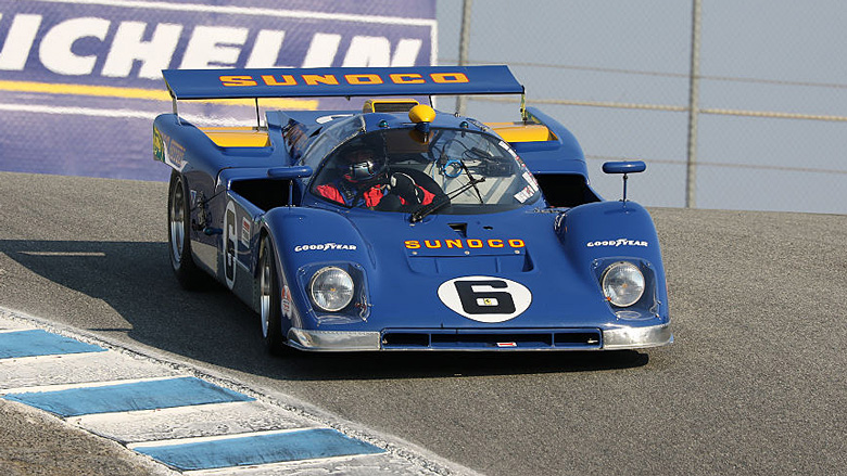 The famous Sunoco Penske Ferrari 512M, here driven by its Canadian owner Lawrence Stroll, was entered in Group 7A for 1968-1974 Can-Am cars.