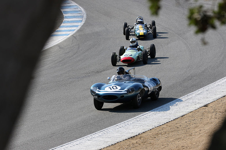 The Jaguar D-Type # XKD502 of Chris MacAllister mixed with some Formula Junior cars.