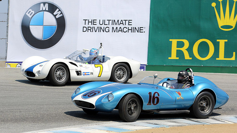 The 1958 Scarab MkI of David Swig and the 1960 Maserati Tipo 61 of Jonathan Feiber were first and second in the Group 2A for 1955-1961 Sports Racing Cars over 2000cc.