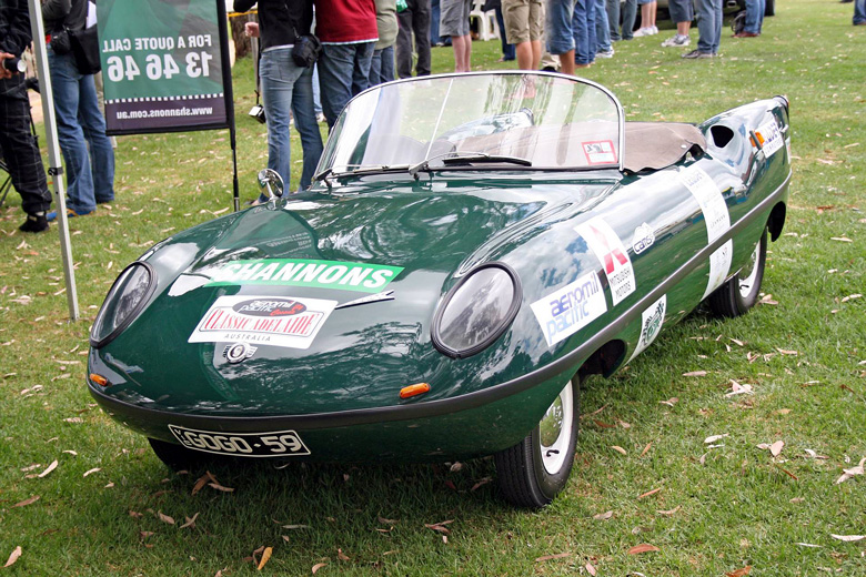 The Goggomobil Dart photographed in 2007 at Classic Adelaide in Australia. It was running on the event but is a promotional car for the Australian insurance company Shannons.