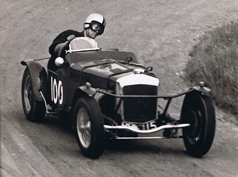 Peter Giddings at Firle Hillclimb in the Frazer Nash.