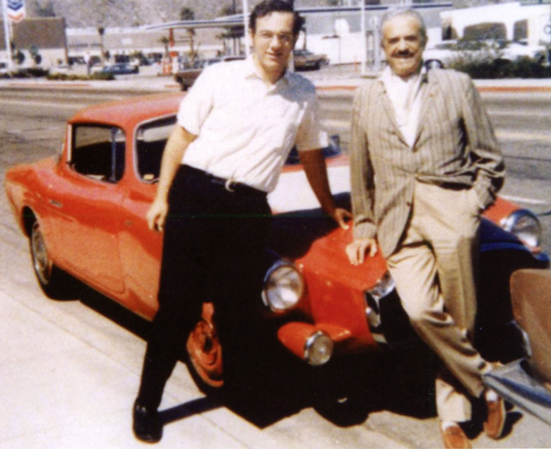 David Rives, left, with his Loraymo and its designer, Raymond Loewy sometime in the early 1970s. This was a chance meeting on the road in Palm Springs.