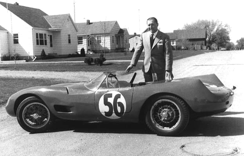 Herm Behm stands by CS04088 before the 1957 Sebring 12 hour event.