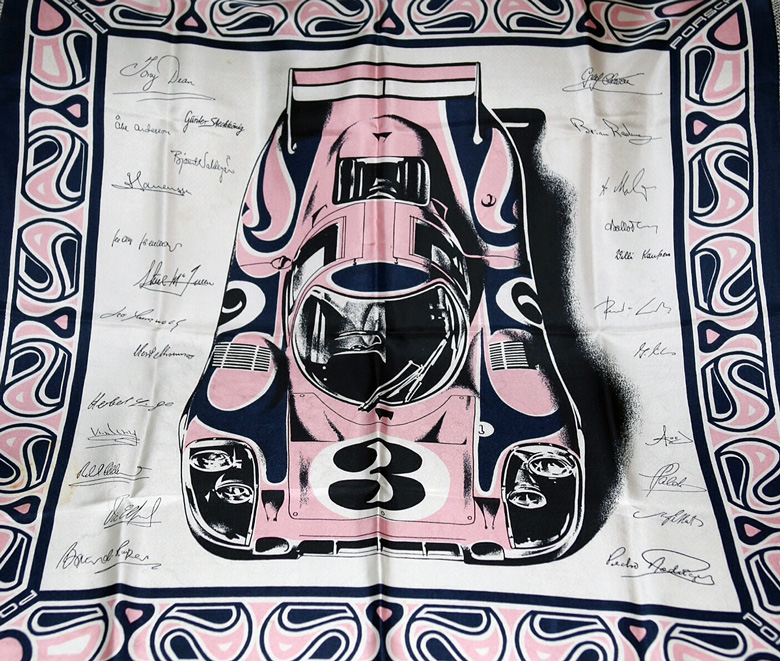 Porsche Silk Scarf.  I have seen this scarf in several colors but never in the blue and green that it should be in but if I were making a Porsche scarf this is the car that I would use.